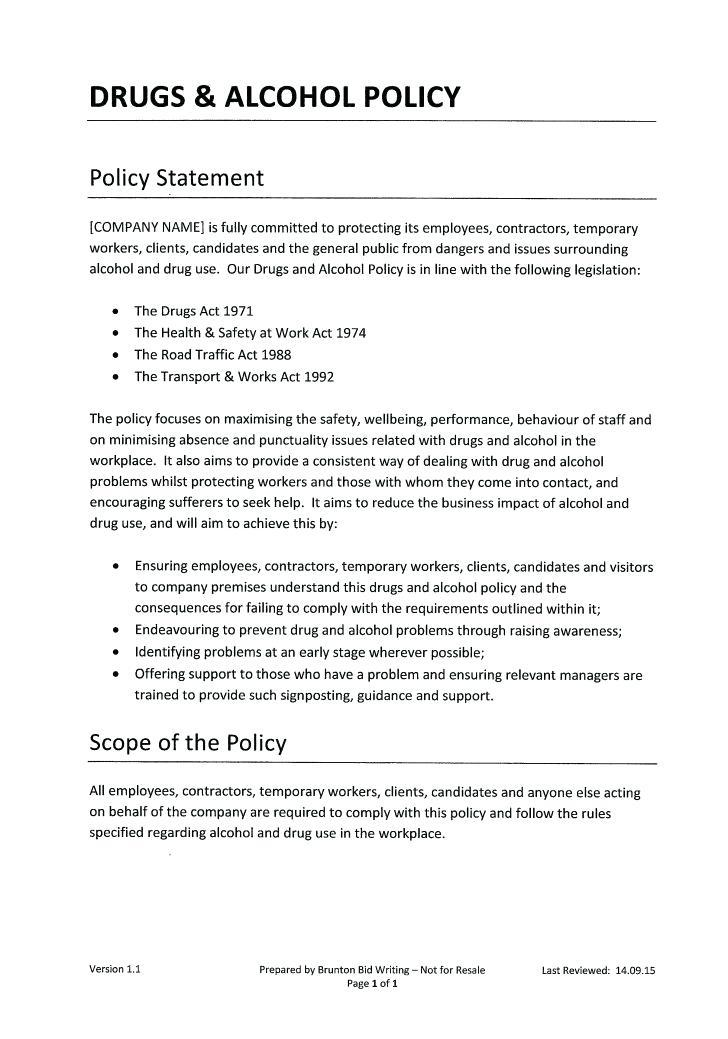 Alcohol And Drug Abuse Policy Template South Africa