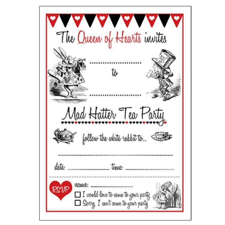 Alice In Wonderland Invitations Templates