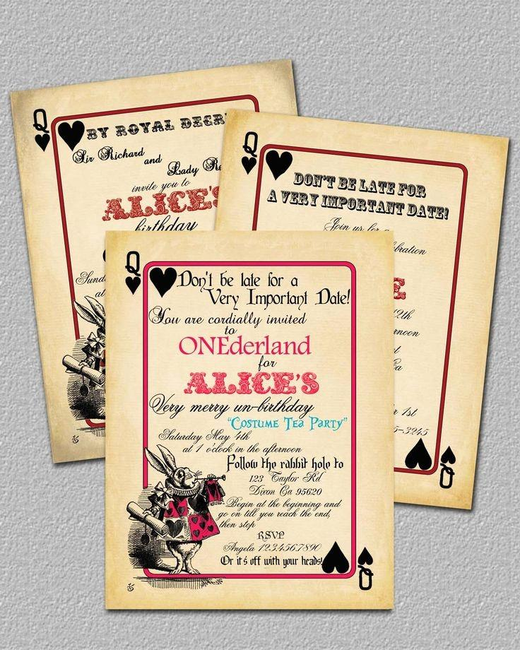 Alice In Wonderland Party Invites Templates