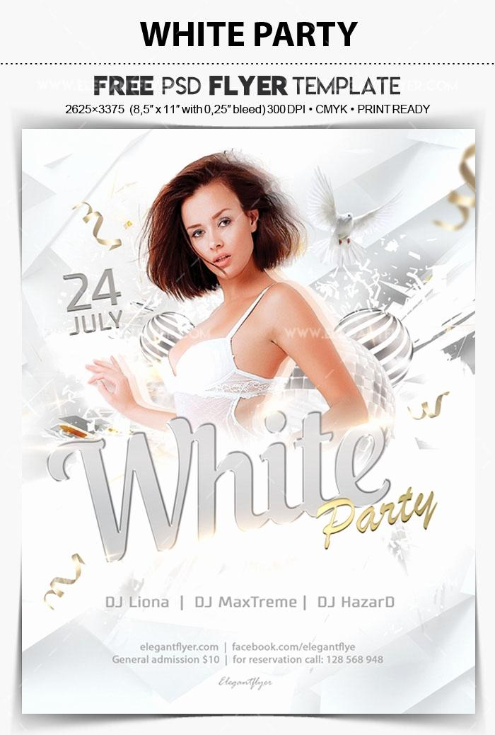 All White Party Flyer Template Free Psd