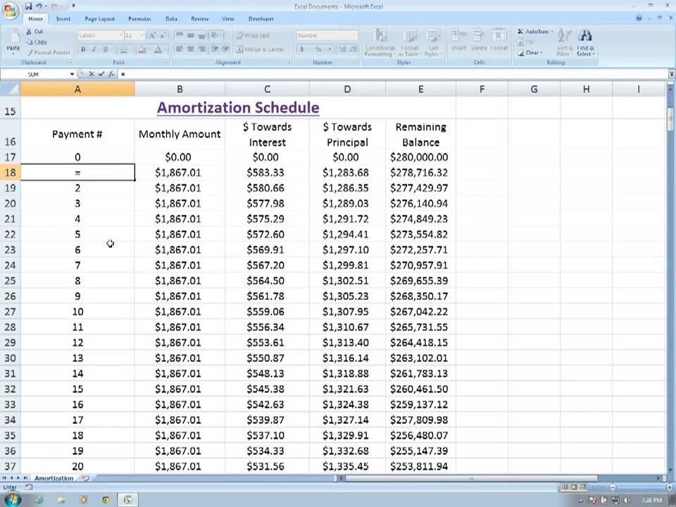 Amortization Schedule Template Microsoft Excel