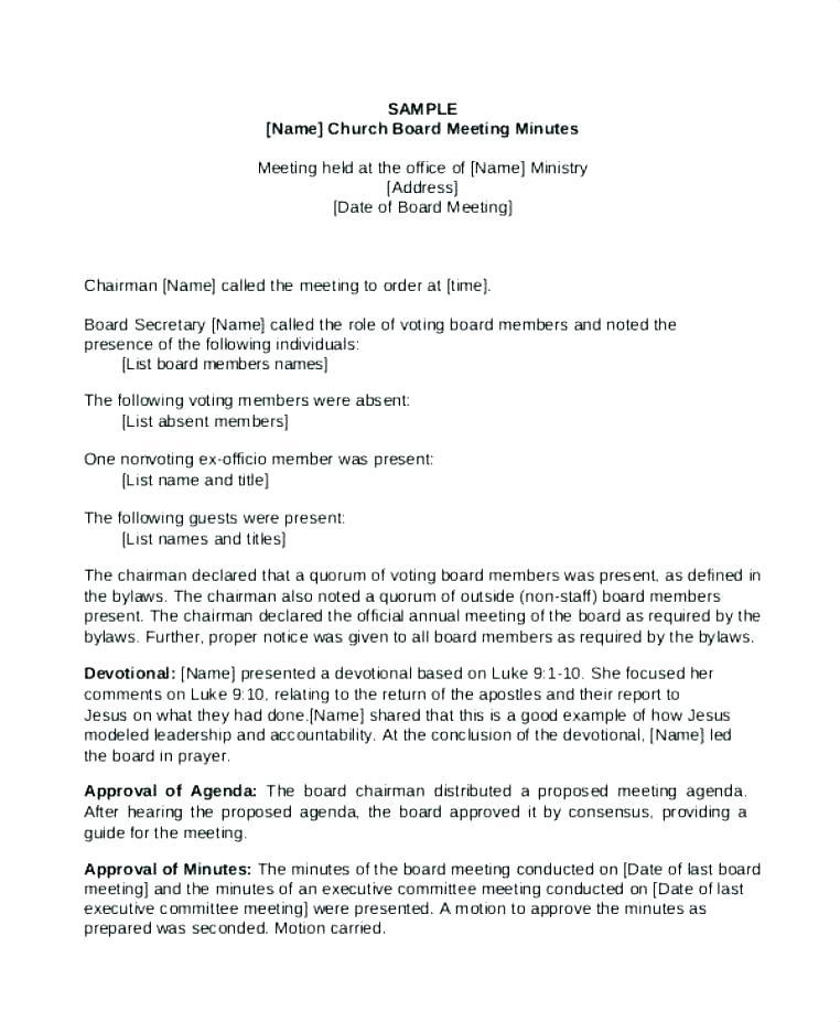 Annual Board Of Directors Meeting Minutes Example
