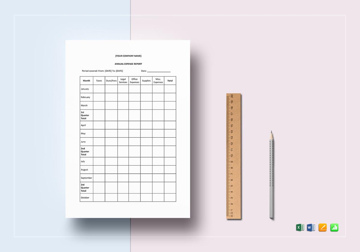 Annual Expense Report Template Excel
