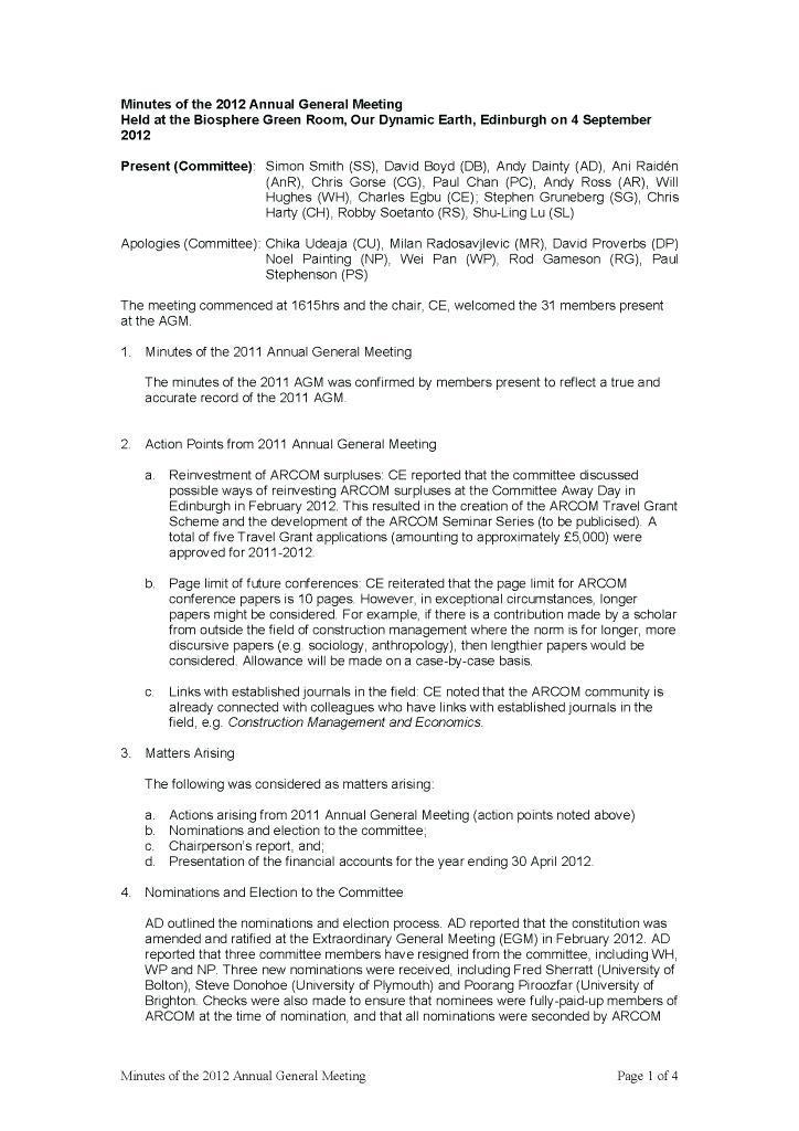 Annual General Meeting Minutes Template Uk