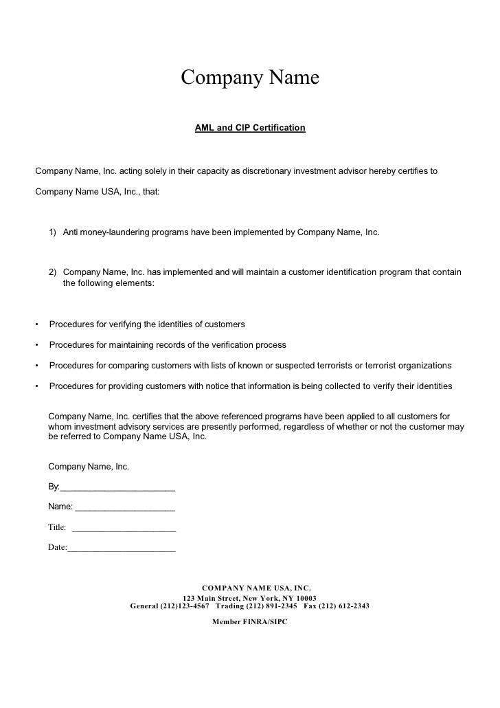 Anti Money Laundering Compliance Program Template