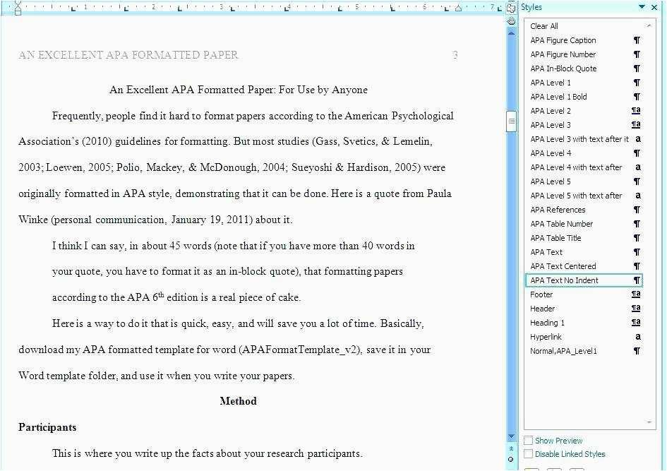 Apa 6th Edition Template For Microsoft Word 2010