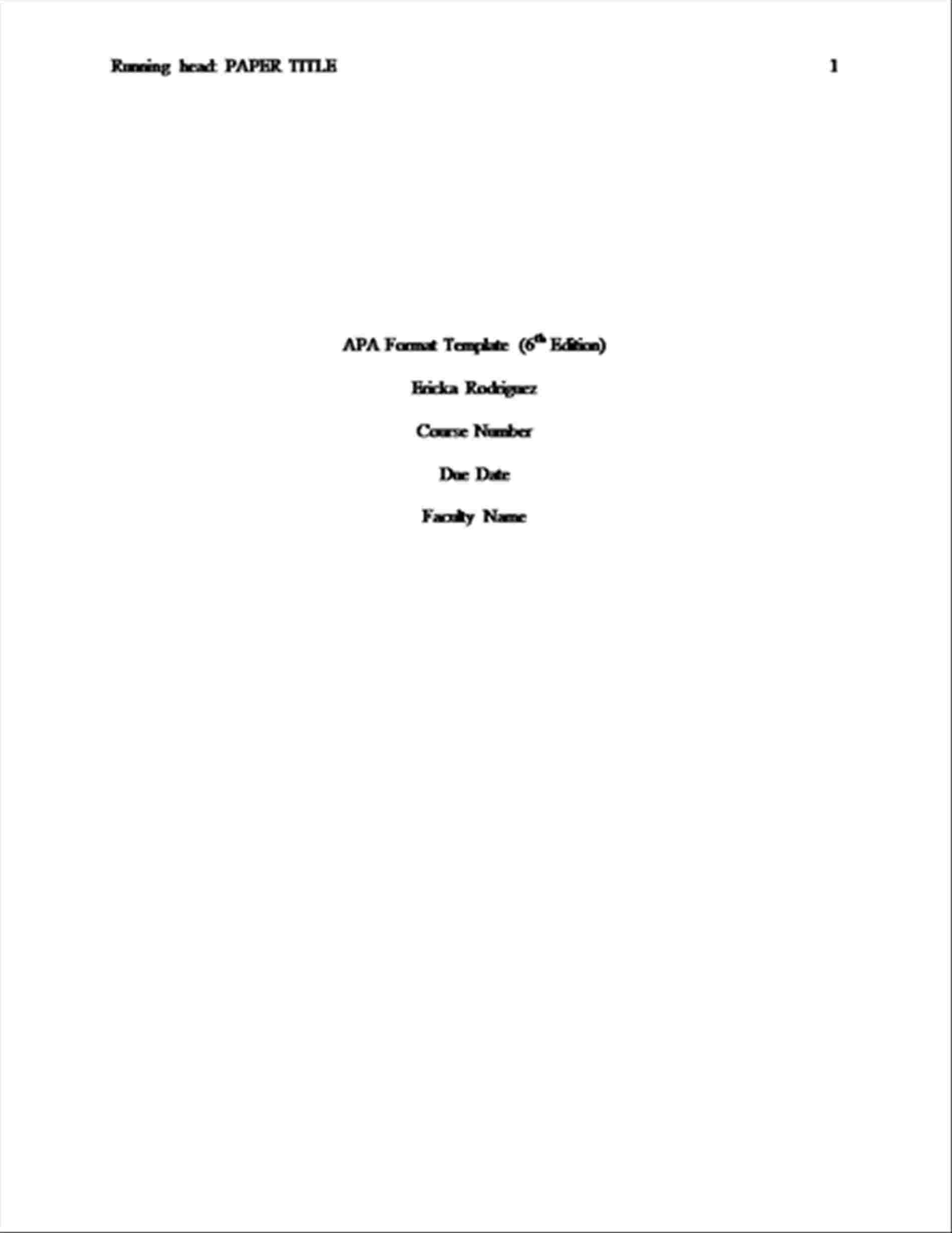 Apa Cover Page Template 6th Edition