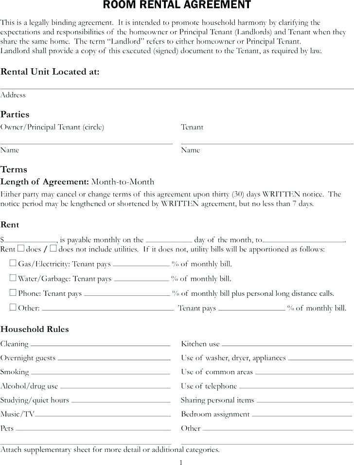 Apartment Rent Agreement Template