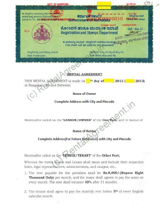 Apartment Rental Agreement Template Bangalore