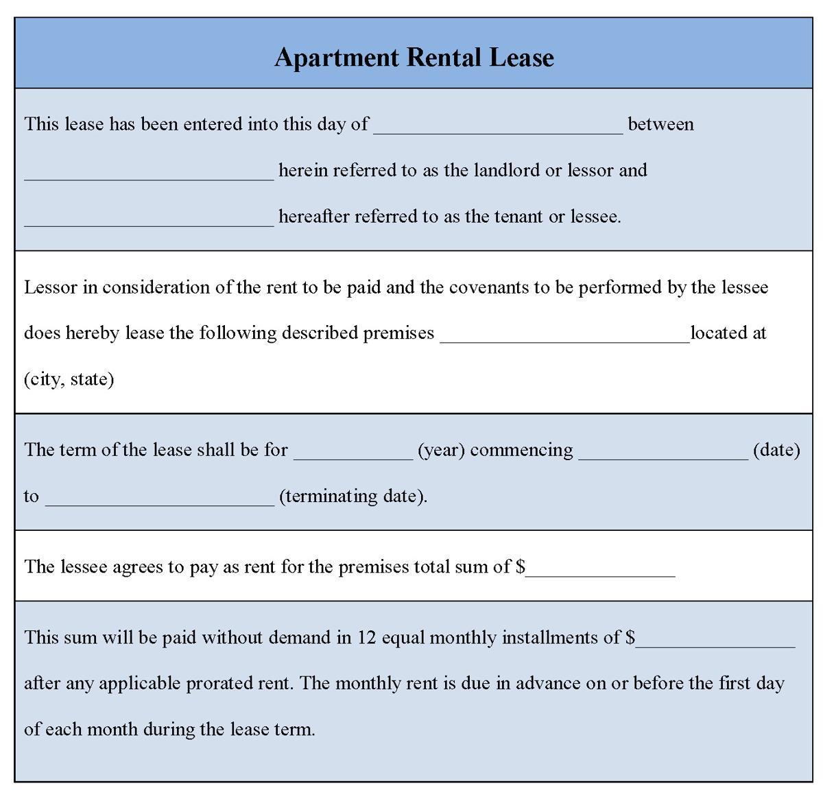 Apartment Rental Lease Document