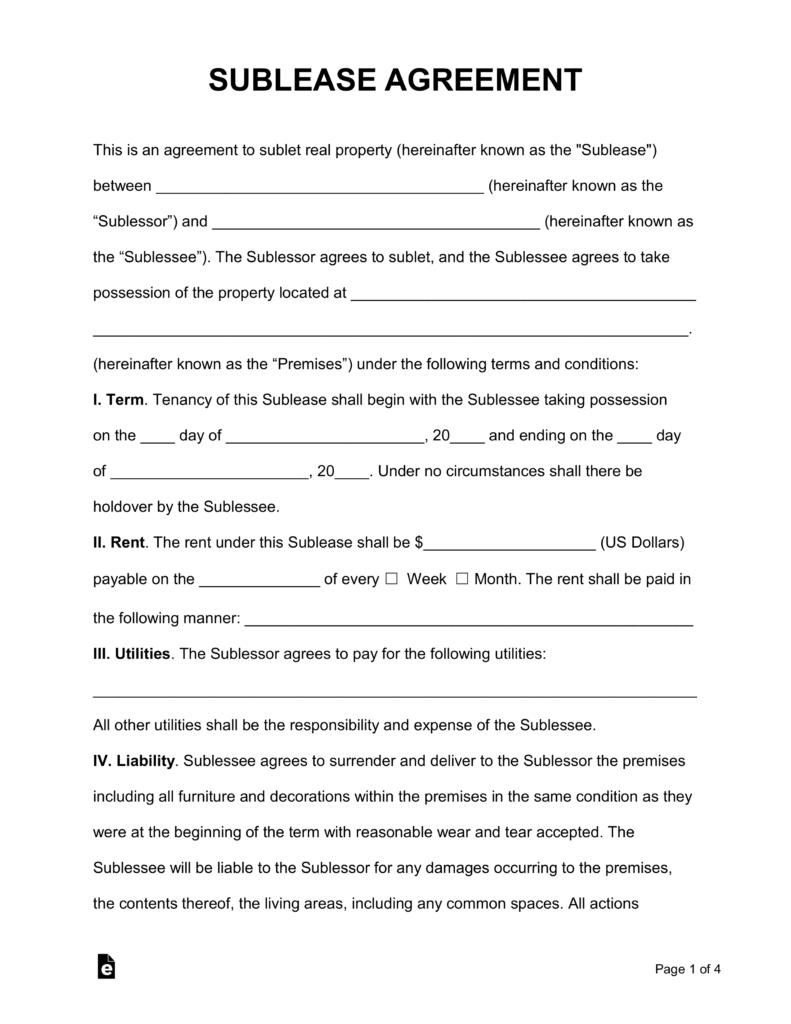 Apartment Sublease Contracts