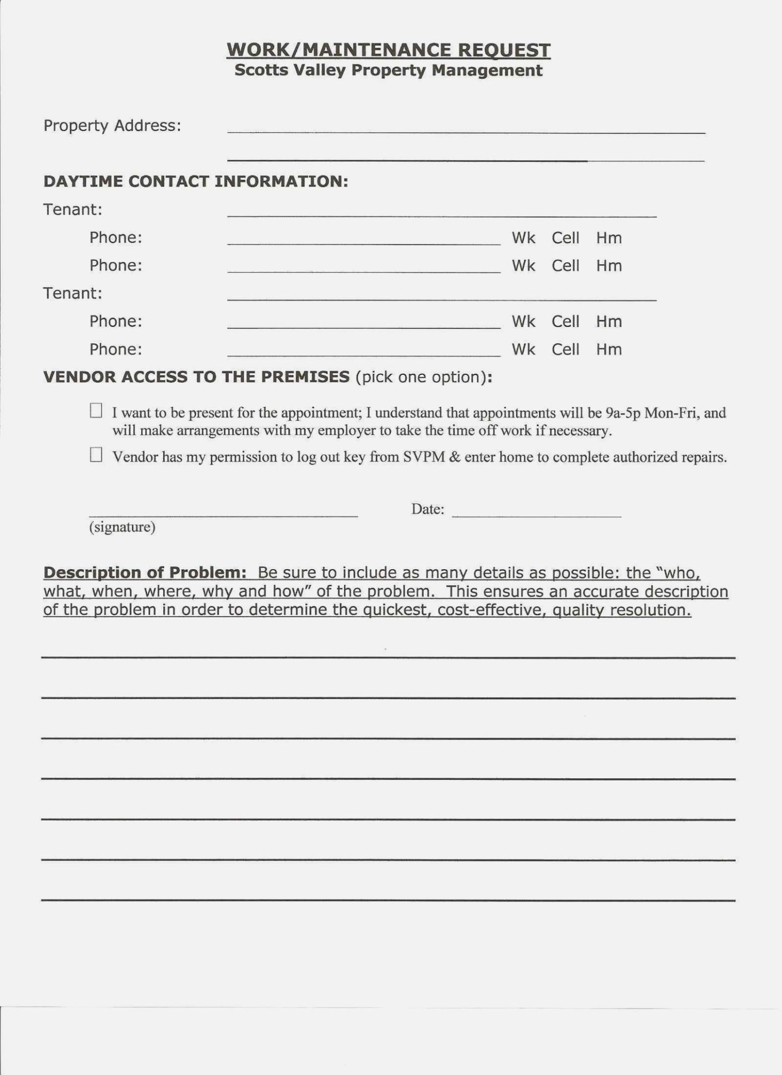 Apartment Work Order Form Template