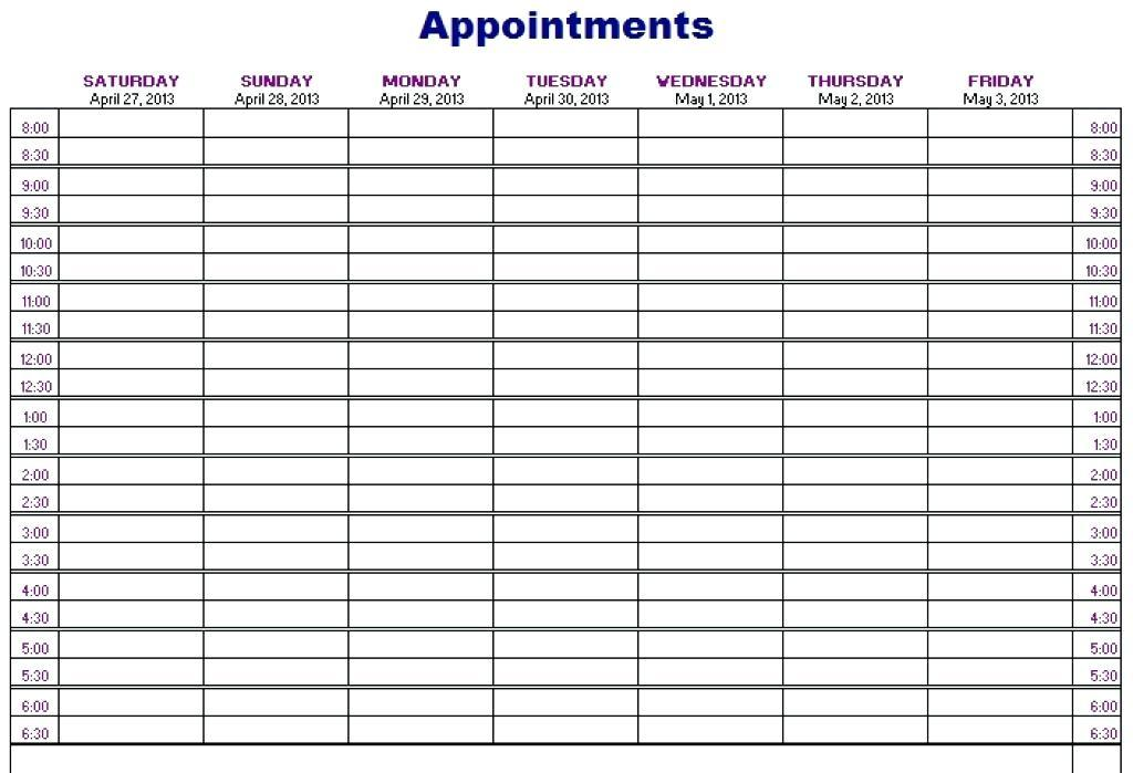 Appointment Scheduling Calendar Template