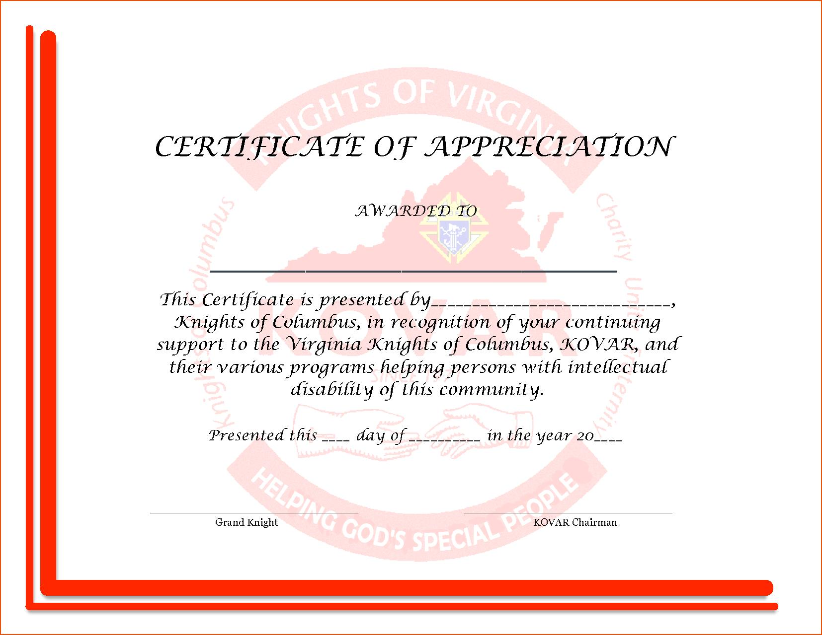 Appreciation Certificate Samples