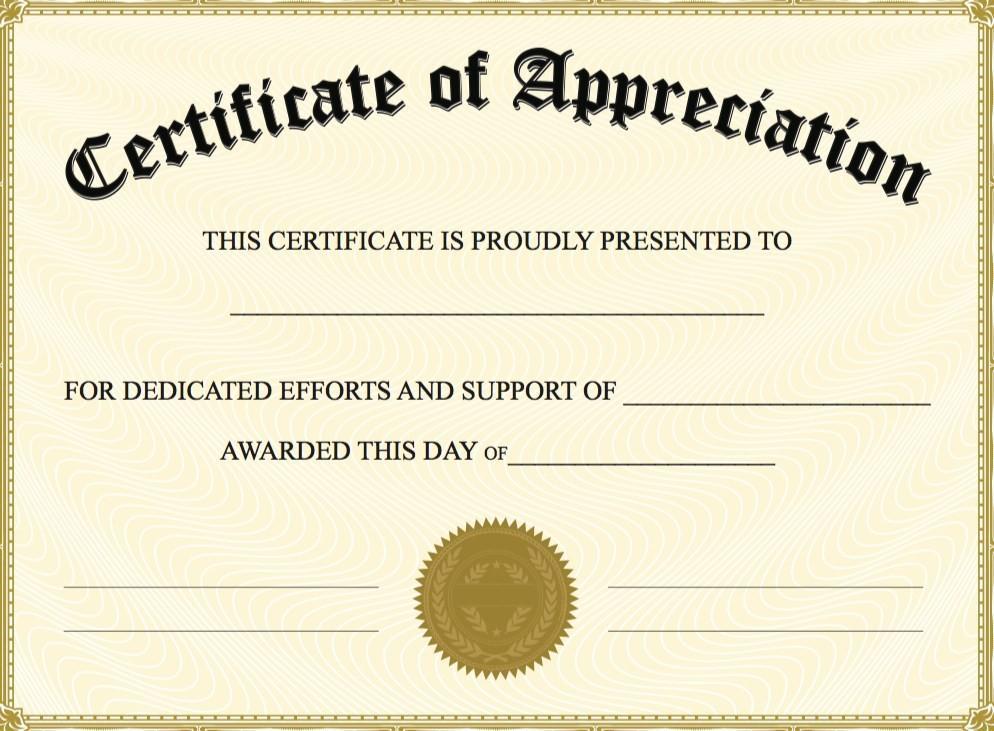 Appreciation Certificate Template Download