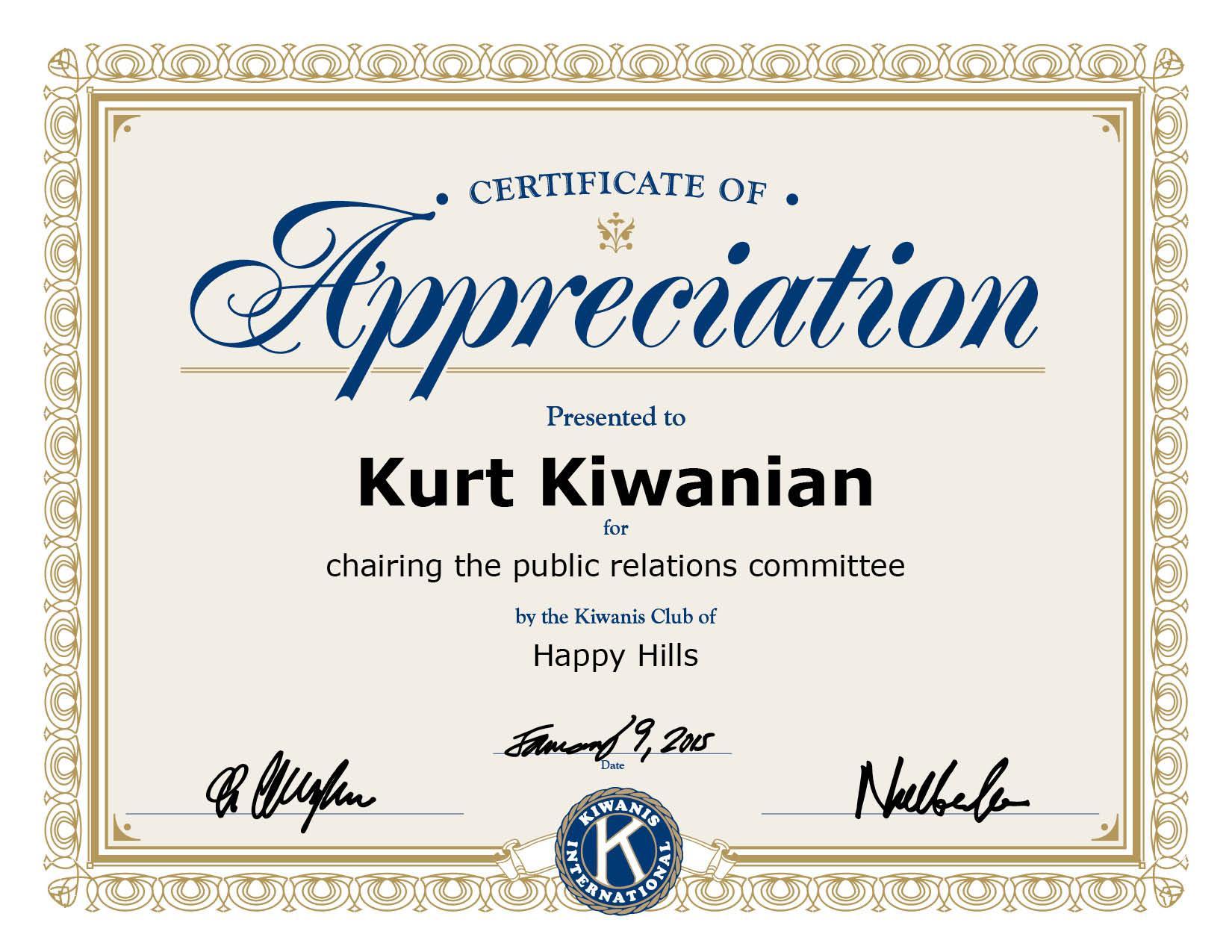 Appreciation Certificate Template Pdf