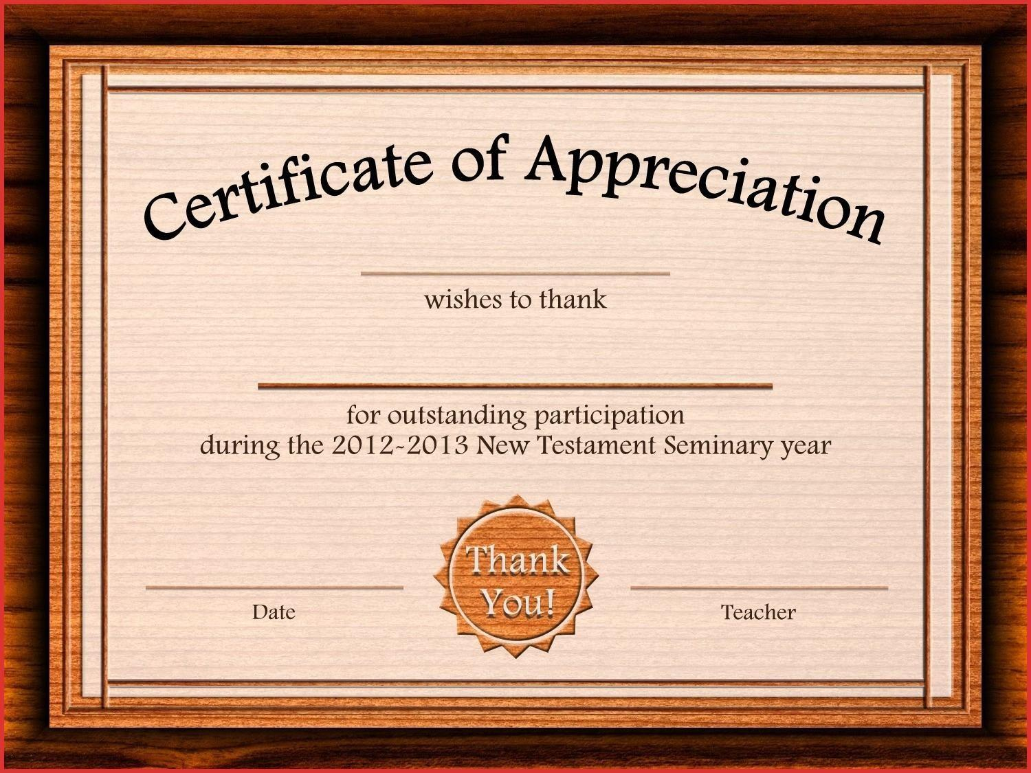Appreciation Certificate Template Ppt