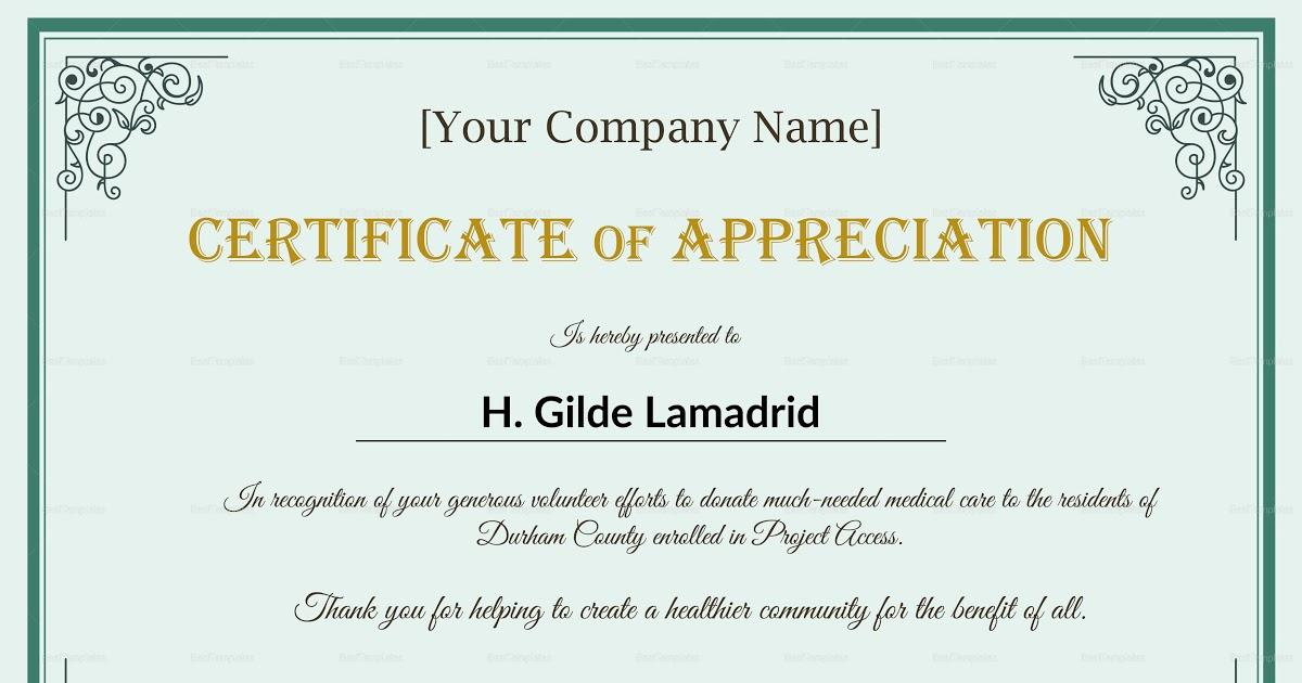 Appreciation Certificate Templates Psd