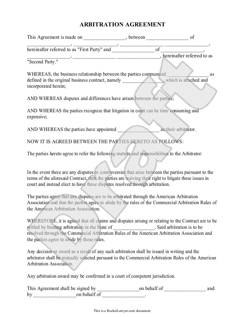 Arbitration Agreement Forms