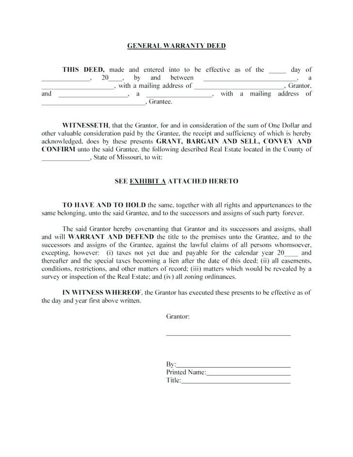 Arizona Warranty Deed Template