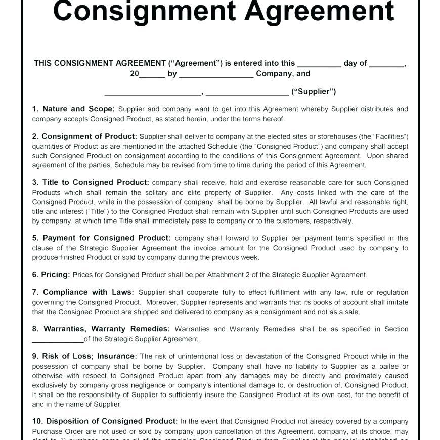 Art Consignment Agreement Template Free