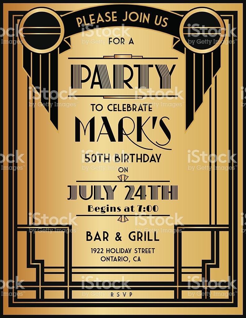 Art Deco Birthday Invitation Template Free