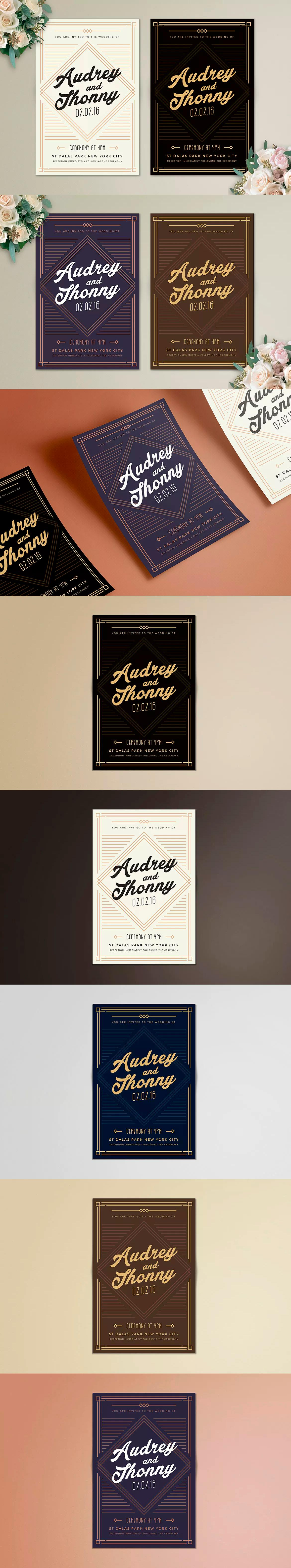 Art Deco Invitation Template Psd