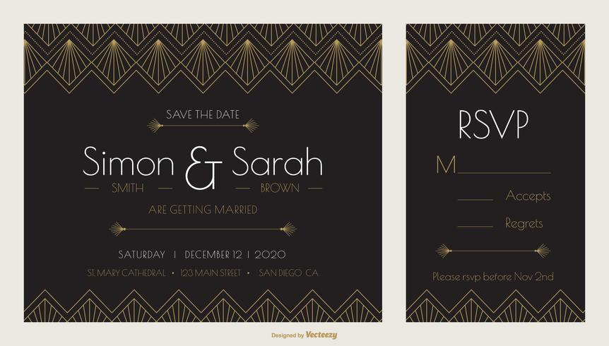 Art Deco Wedding Invitation Template Download