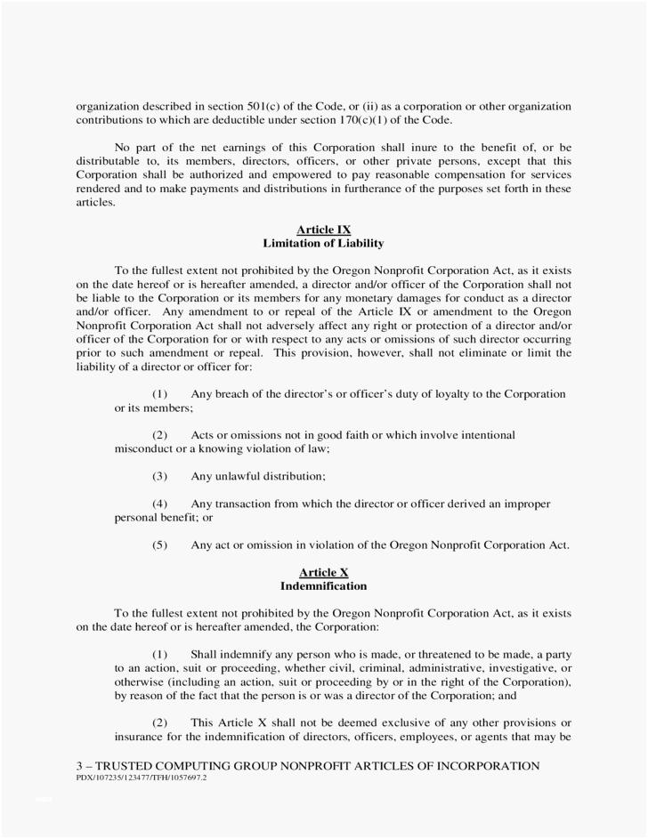Articles Of Incorporation Template Colorado