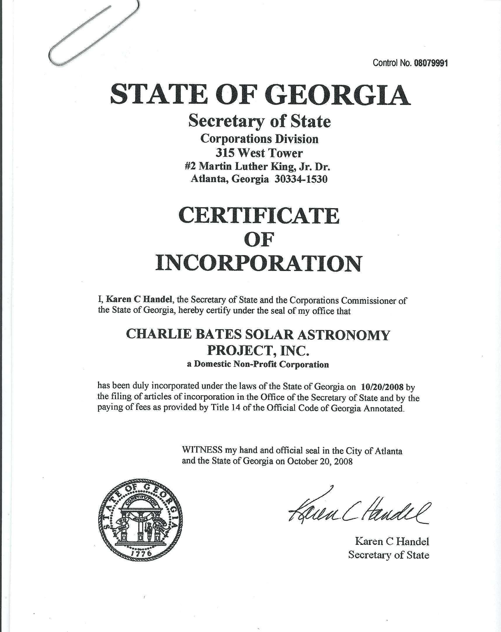 Articles Of Incorporation Template Georgia