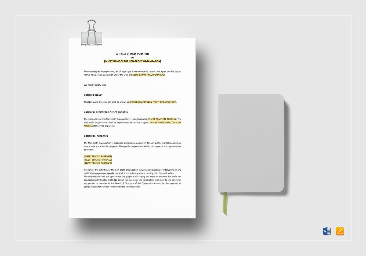 Articles Of Incorporation Template Non Profit