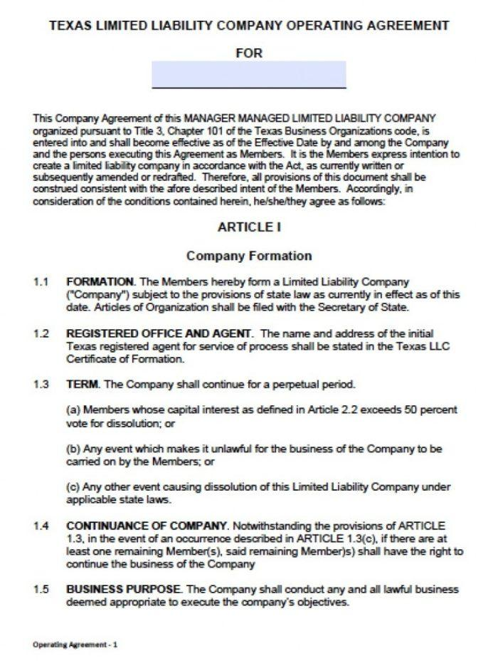 Articles Of Incorporation Template Texas