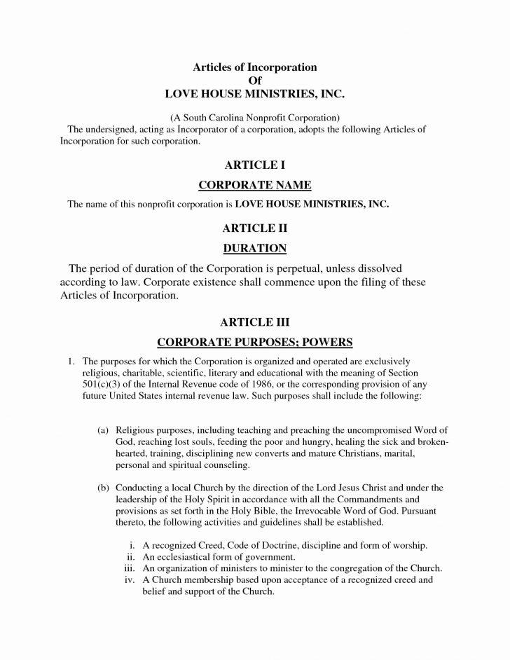 Articles Of Incorporation Template Virginia