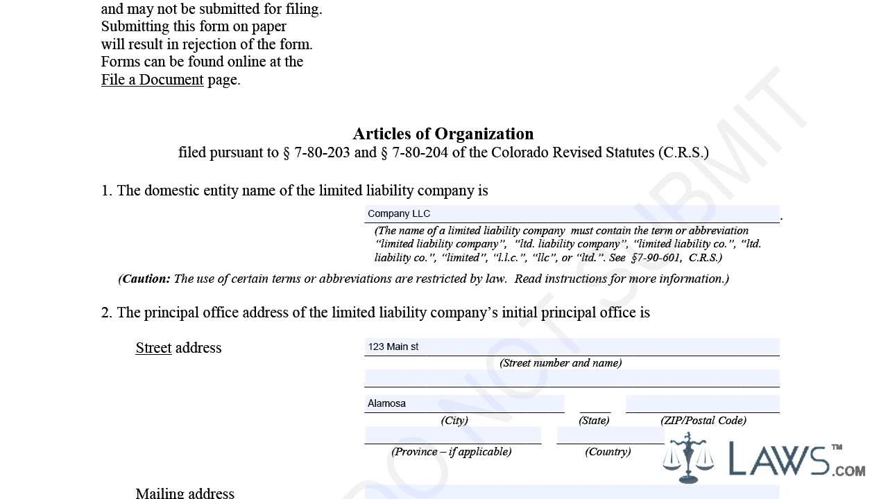Articles Of Incorporation Template Washington State