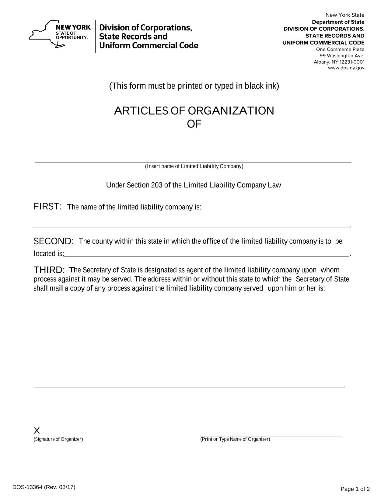 Articles Of Organization Llc Ny Template