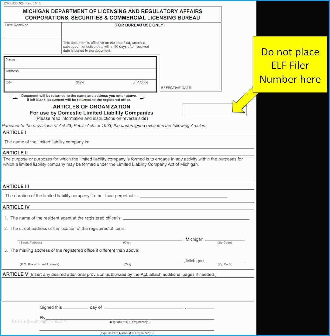 Articles Of Organization Llc Template Michigan