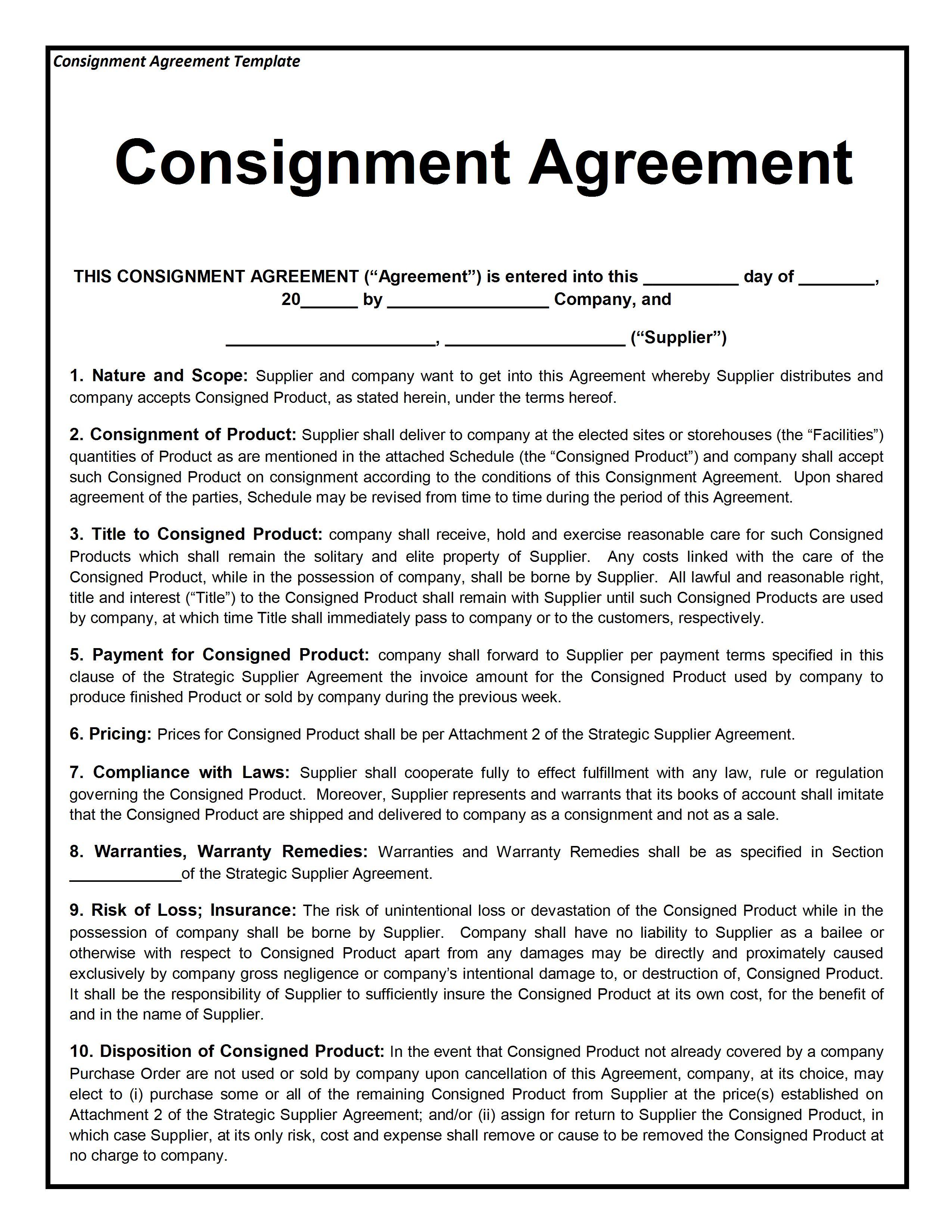 Artist Consignment Agreement Template
