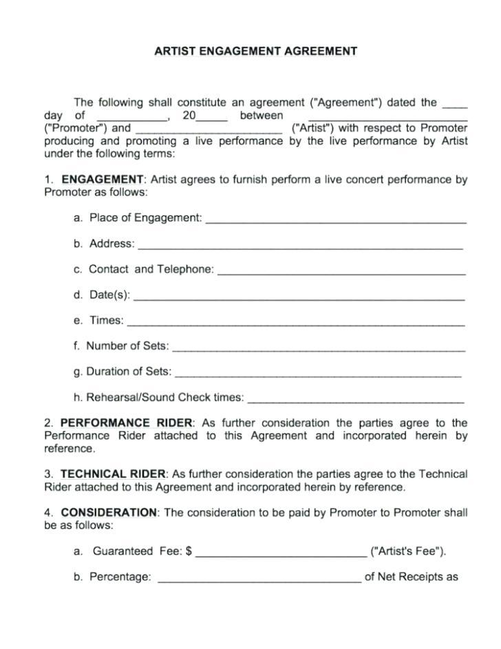 Artist Performance Agreement Template