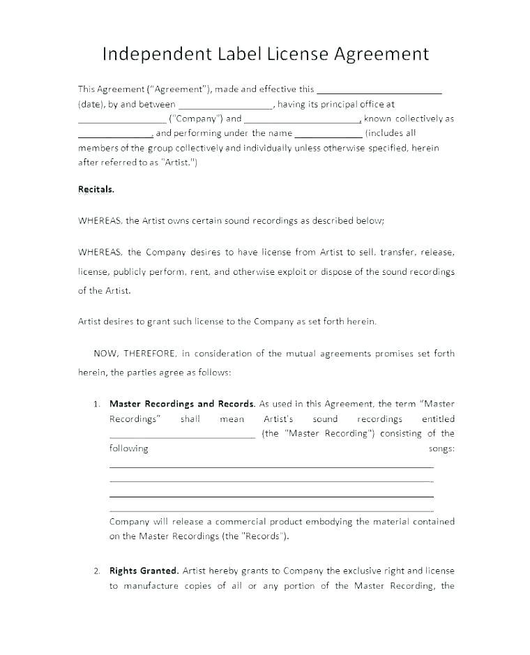Artist Recording Agreement Template