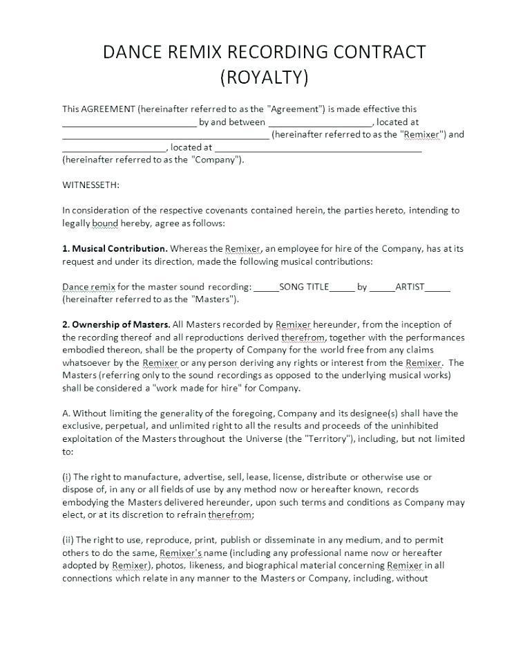 Artist Short Licensing Agreement Template
