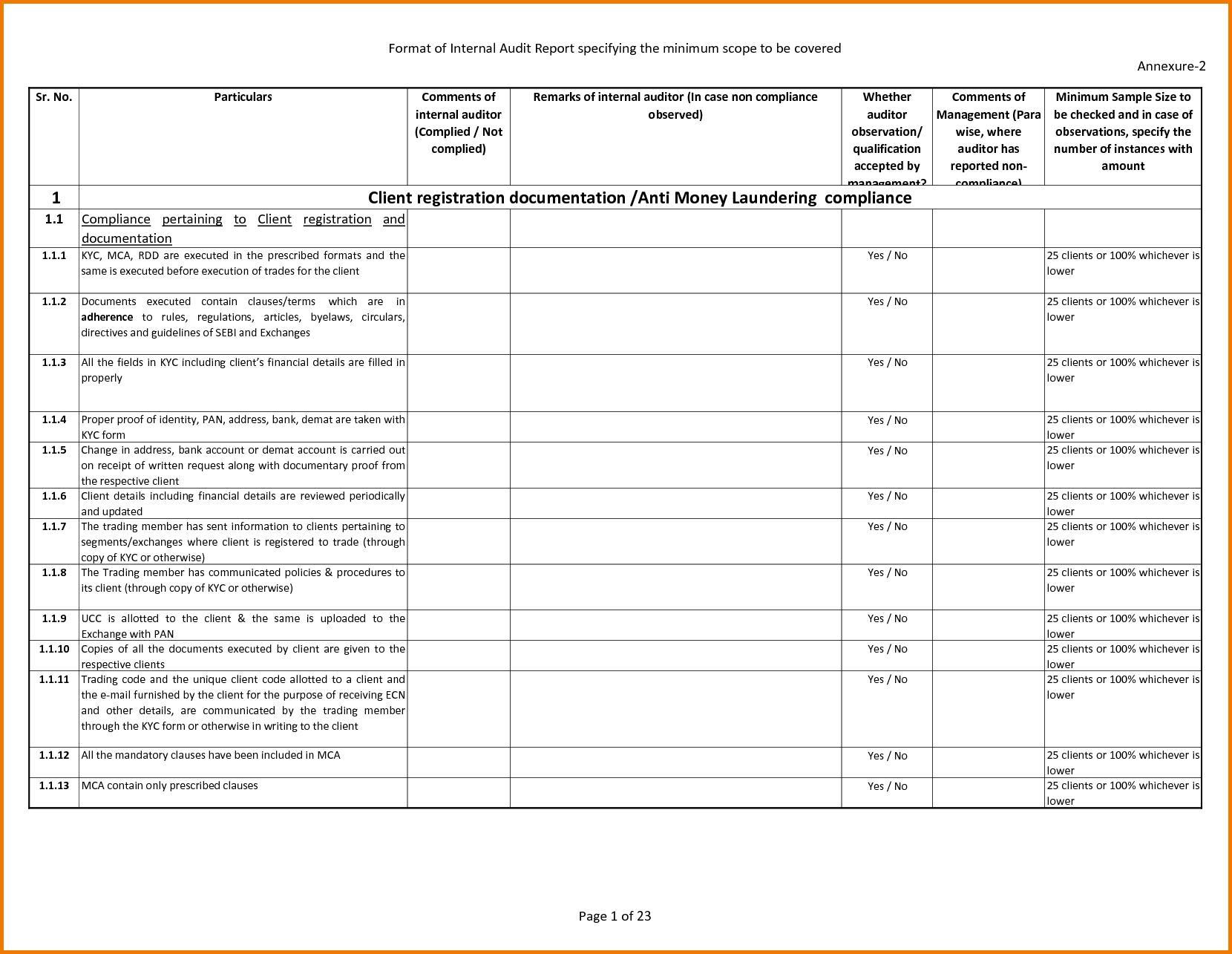 As9100 Internal Audit Checklist Template