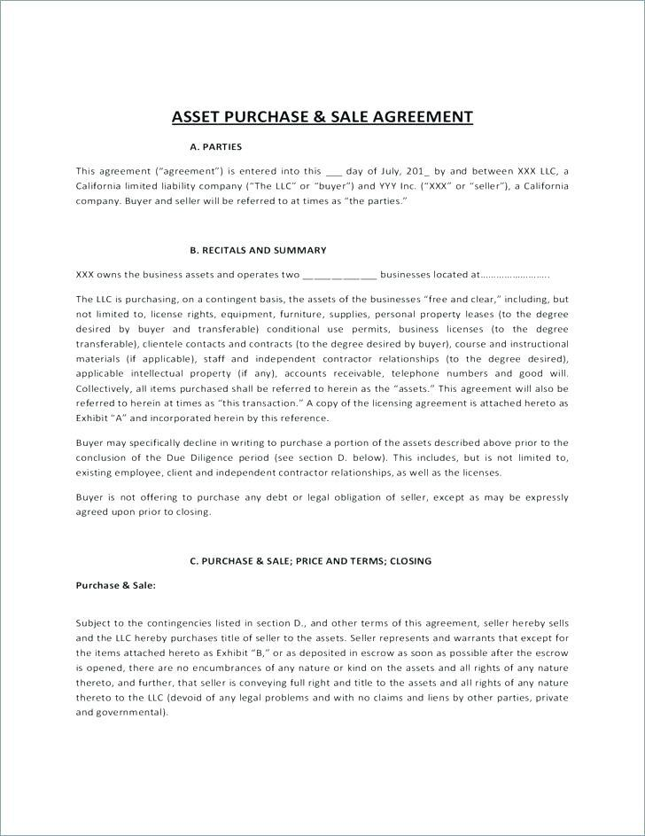 Asset Purchase Sale Agreement Template