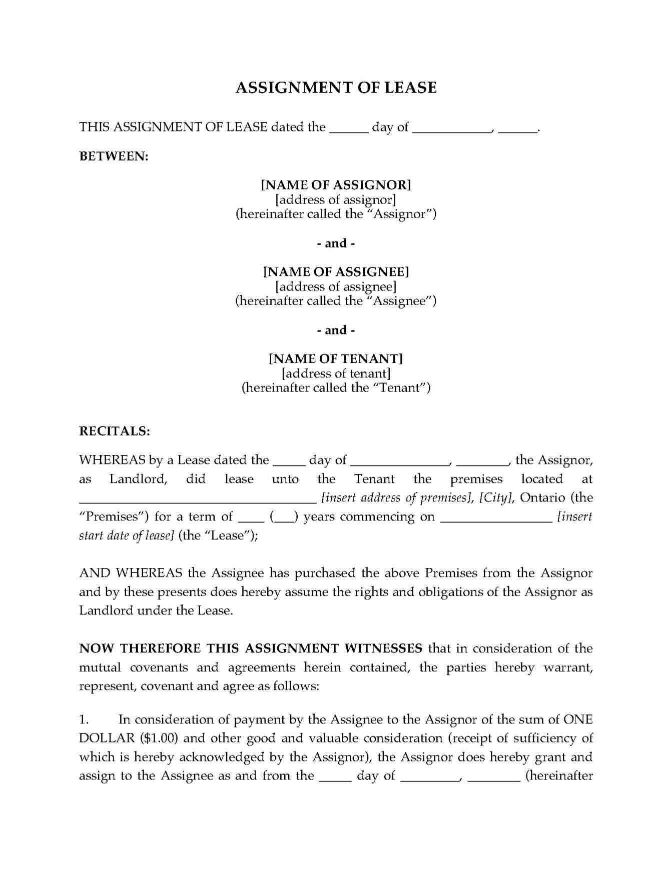 Assignment Of Commercial Lease Template