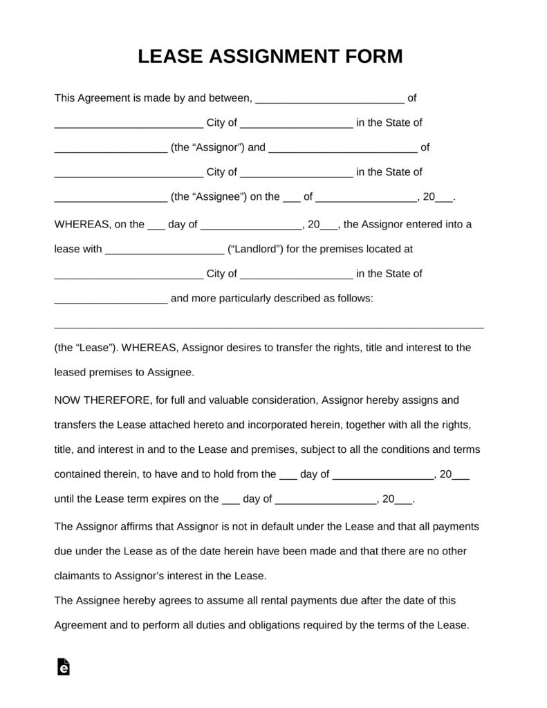 Assignment Of Lease Forms