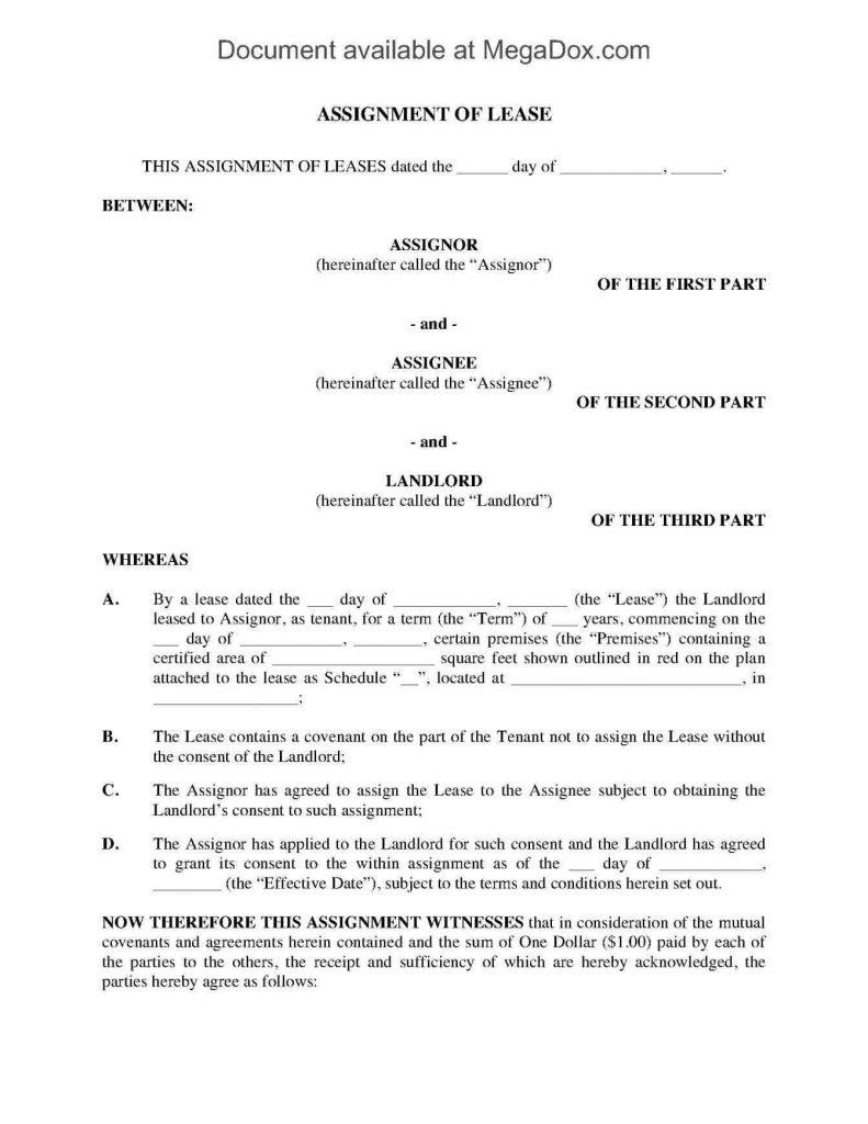 Assignment Of Lease Template