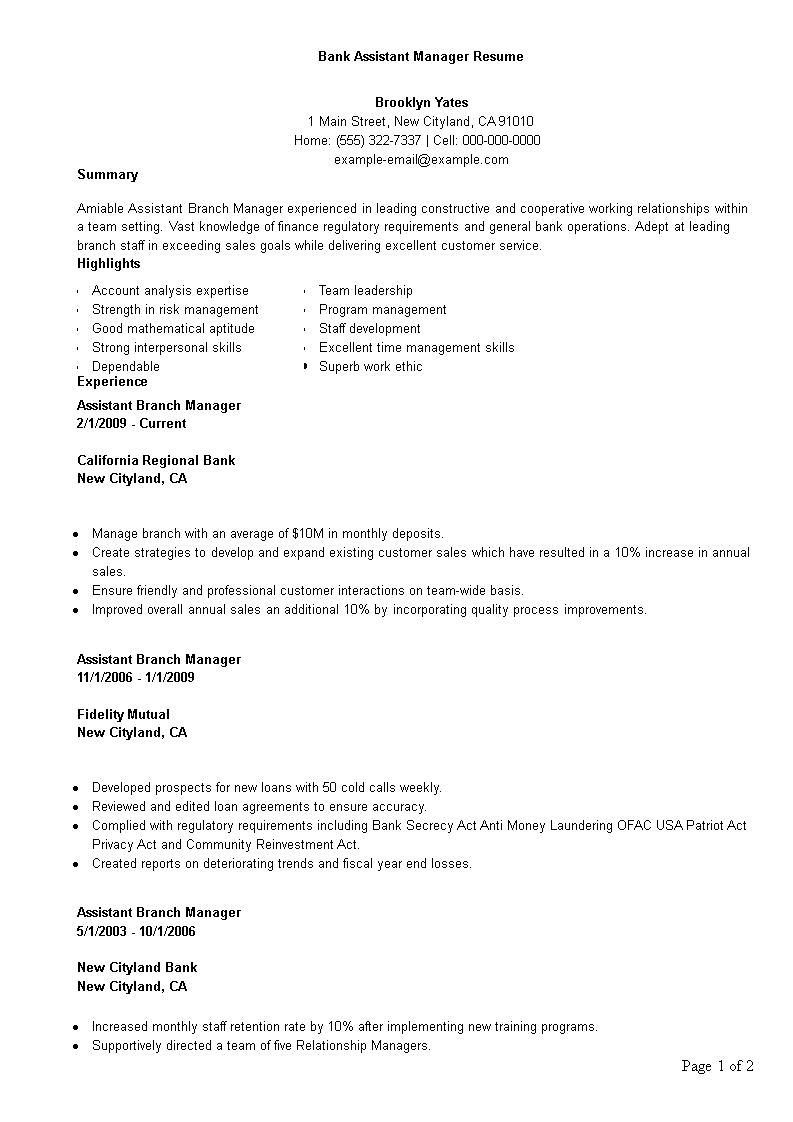 Assistant Bank Manager Resume Template