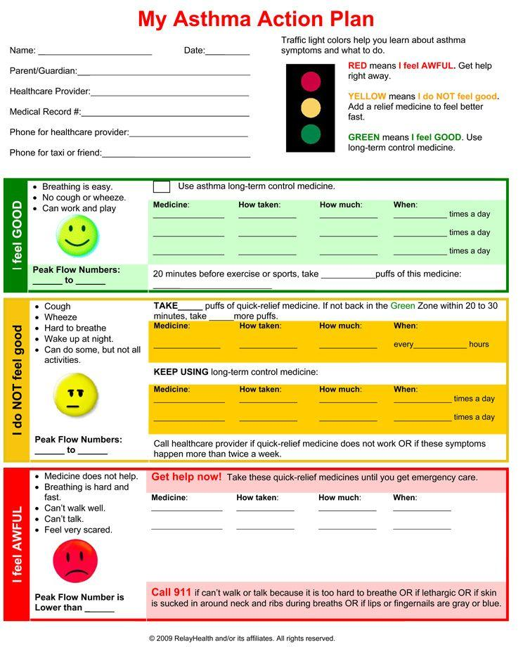 Asthma Action Plan Form Dc