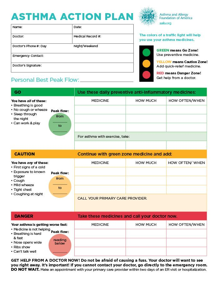 Asthma Action Plan Template Medical Director