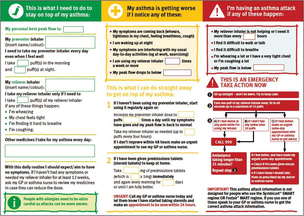 Asthma Action Plan Template Uk
