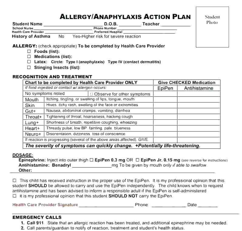 Asthma Management Plan Template